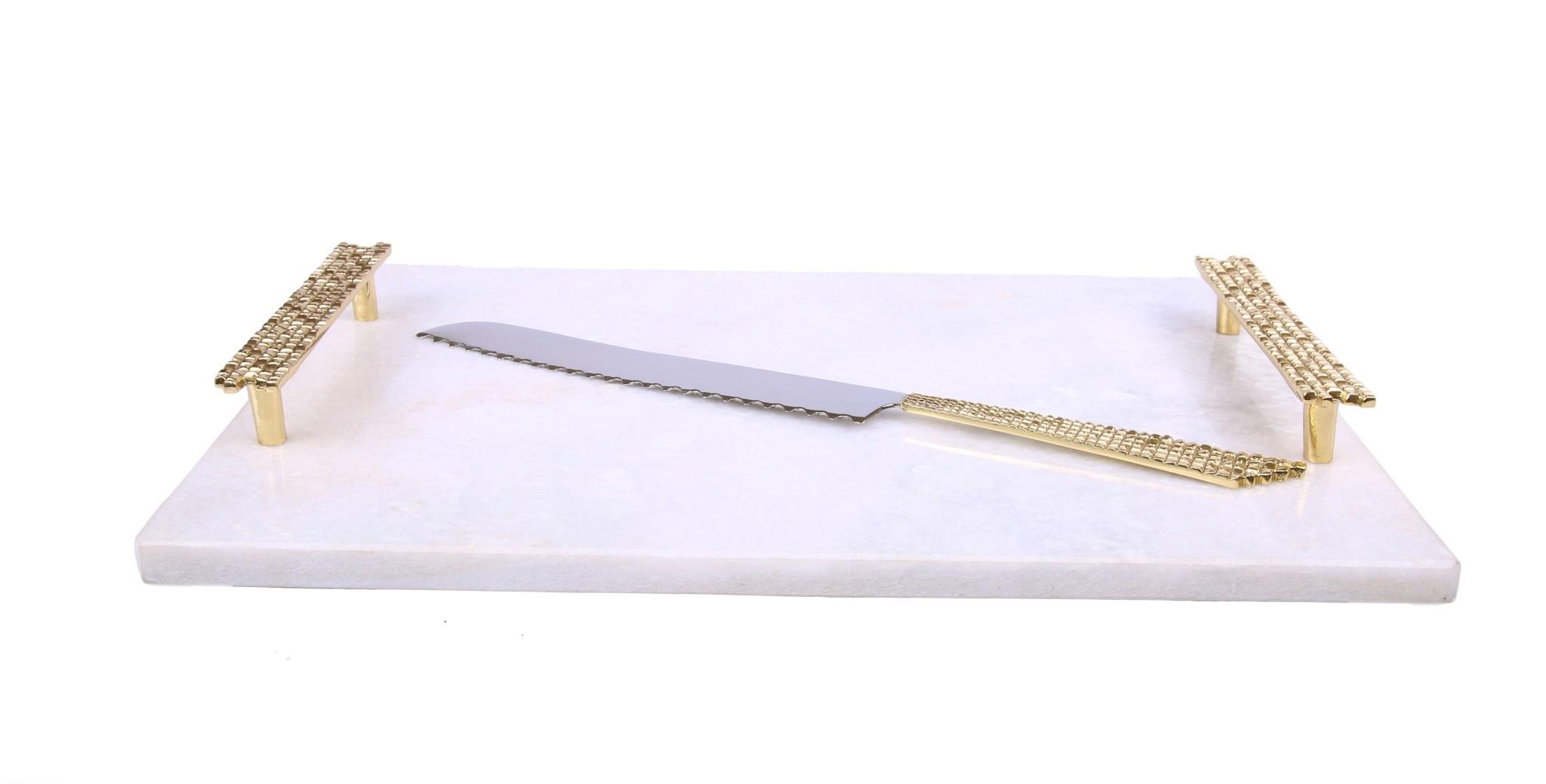 White Marble Challah Board w/ Mosaic Handles