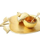Gold Apple Honey Dish & Plate Large