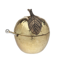 Golden Apple Honey Jar w Spoon