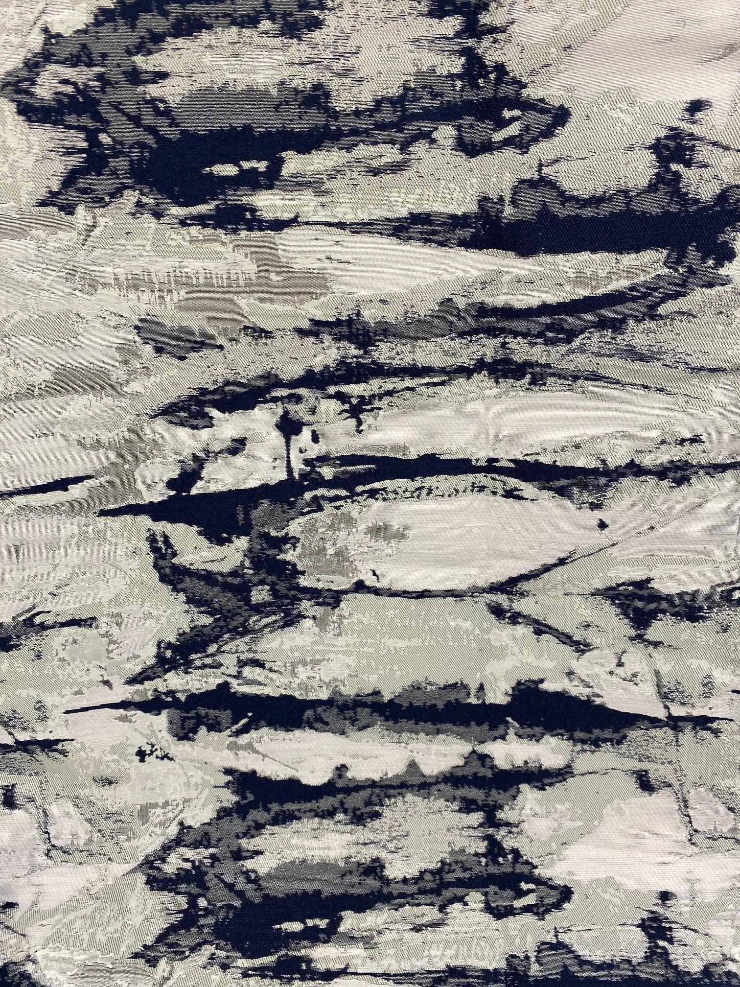 Jacquard Ivory/Blue/Silver TC1305 70 x 144 Tablecloth