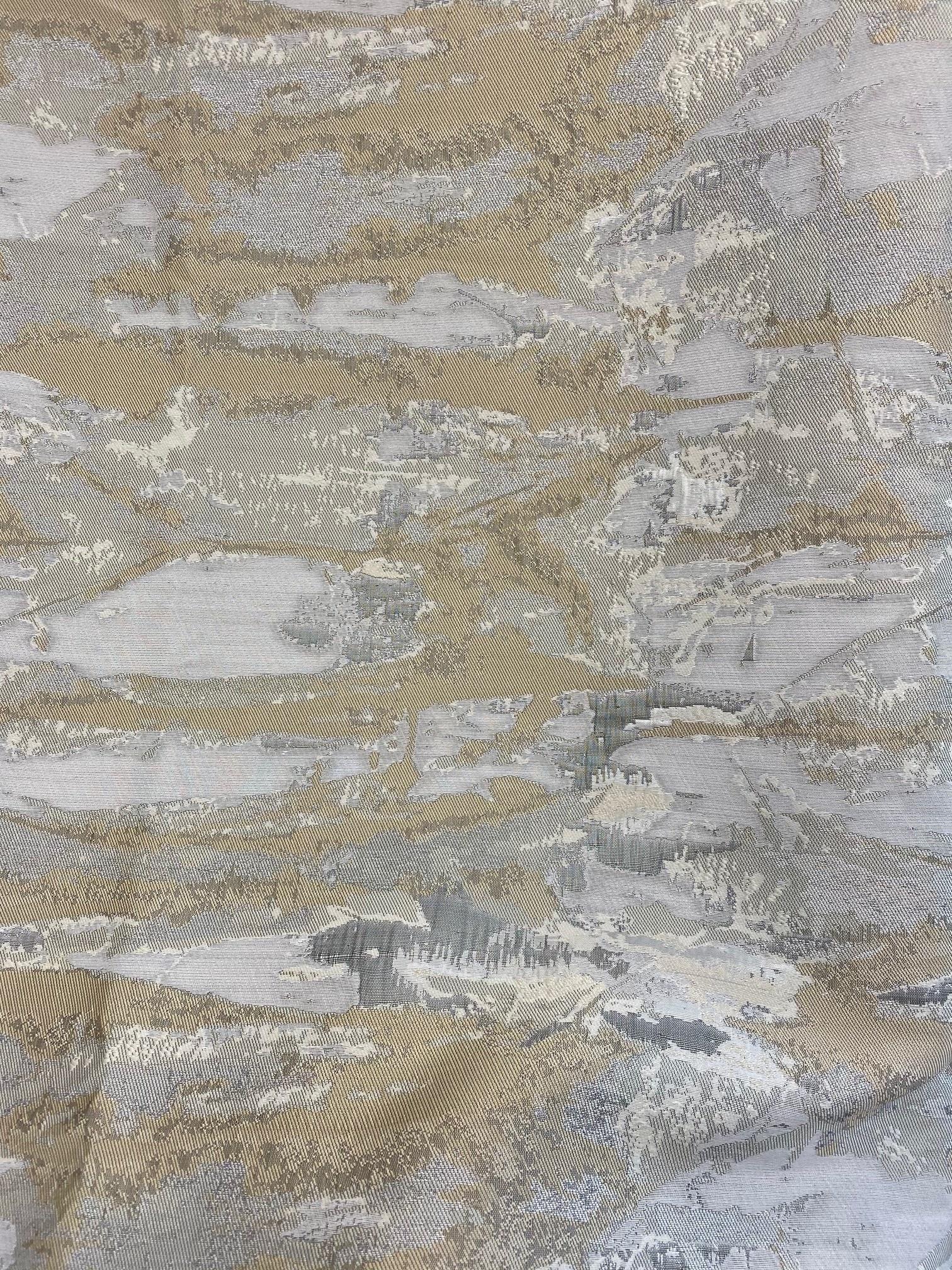 TC1304- 70 x 144 Jacquard Ivory/Grey/Gold Tablecloth