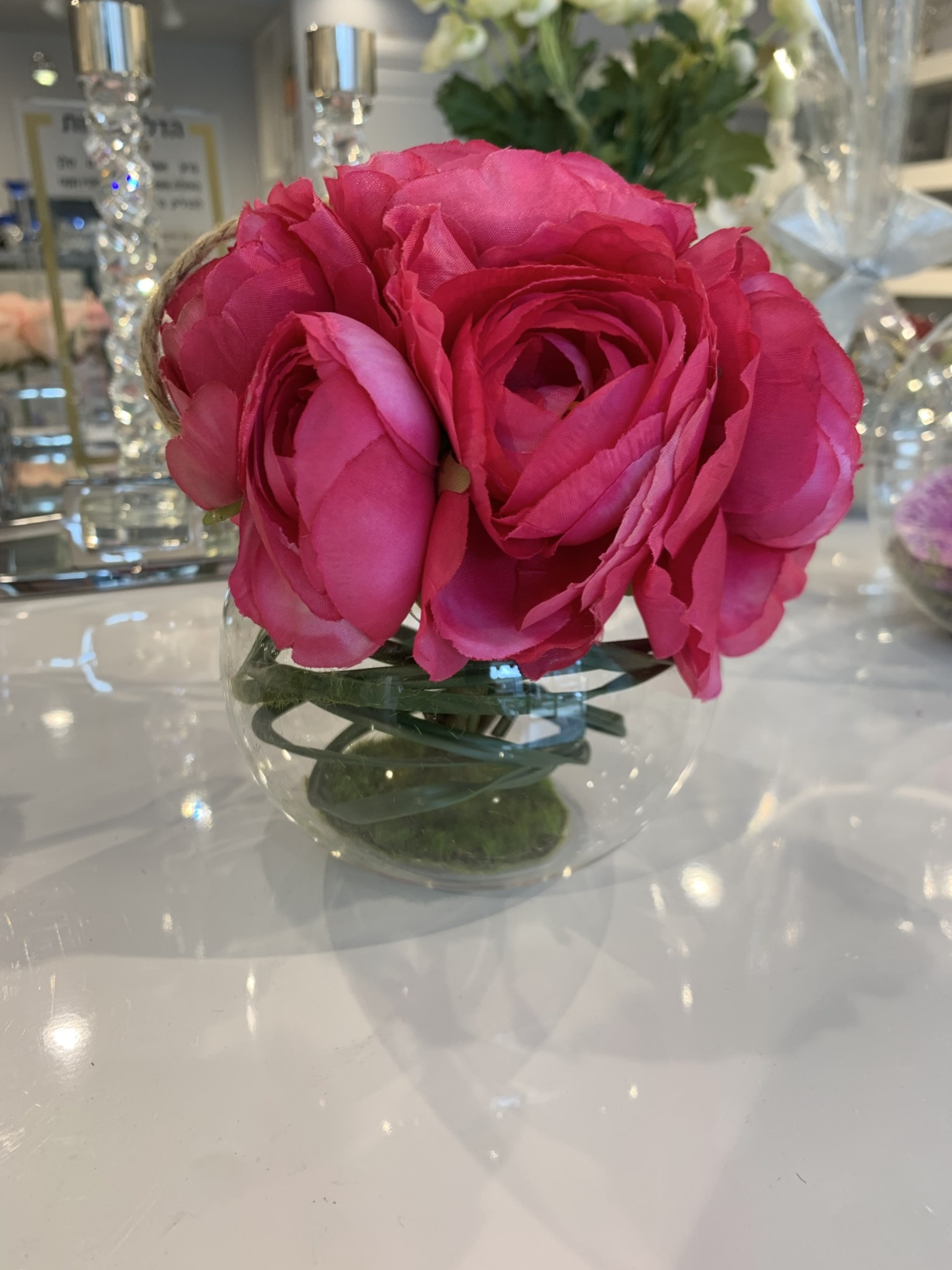 Round hanging glass with pink peonies