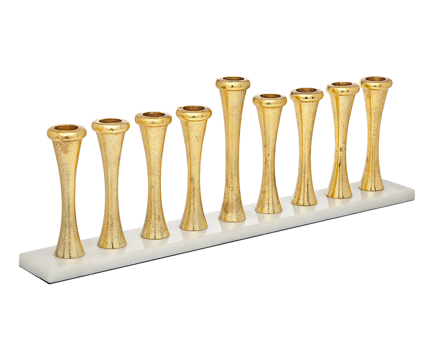 Gold Menorah on White Marble Base