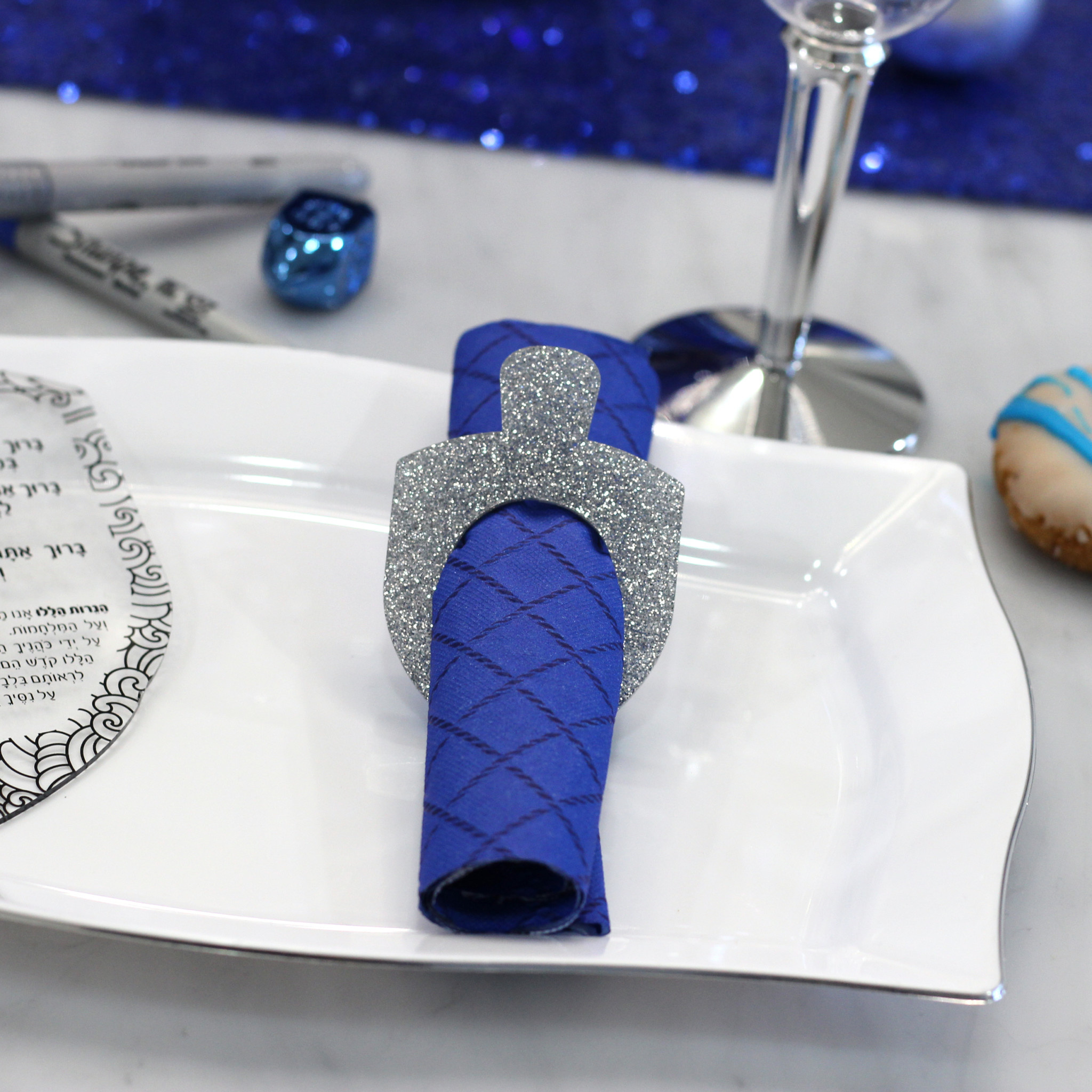 Dreidel Napkin Rings Silver Glitter s/6
