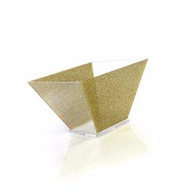 Trapezoid Gold glitter lucite salad bowl