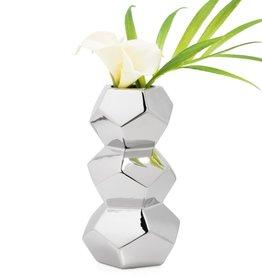 Orion Stacked Silver Ceramic Vase