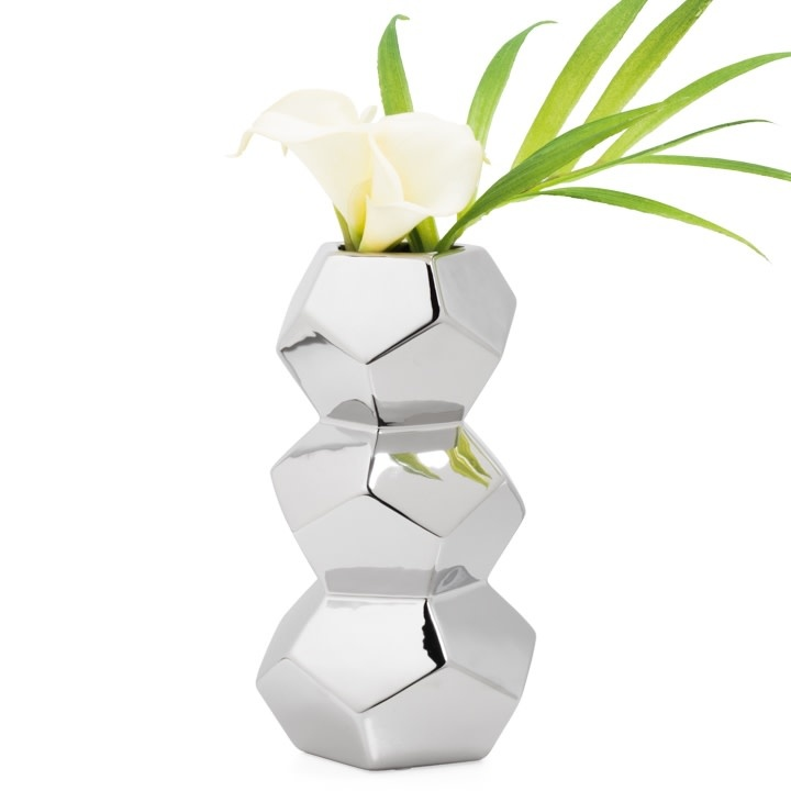 Orion Stacked Silver Ceramic Vase