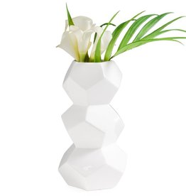 Orion Stacked White Ceramic Vase