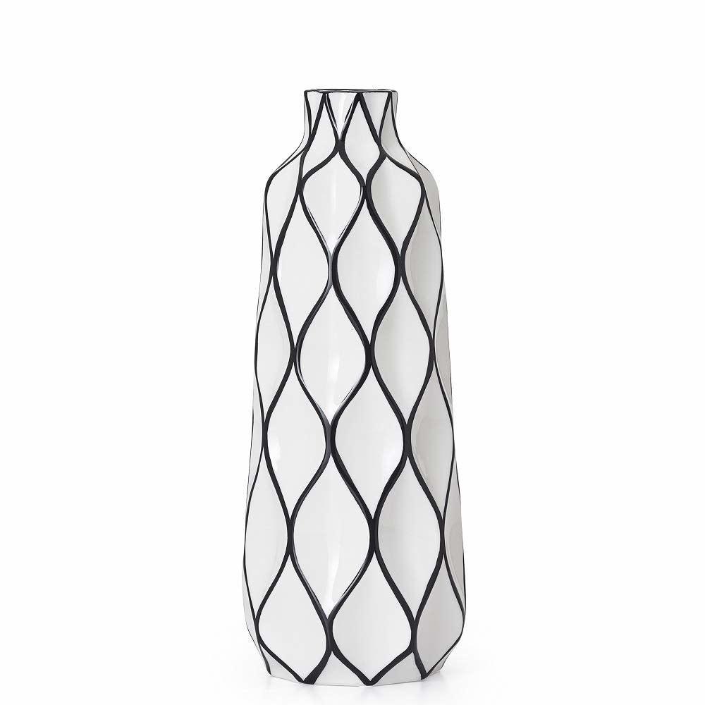 """Abstract 15.5"""" Lattice Ceramic Vase"""
