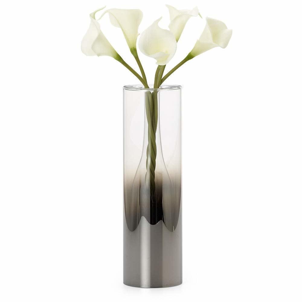 Smoke Mirror Glass Droplet 12H Vase