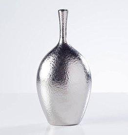 Lilo Dimpled Ceramic 12.25H Silver Vase