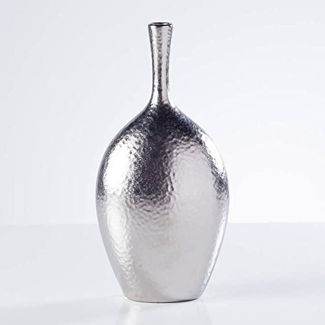 Lilo Dimpled Ceramic 12.25H Silver Vase