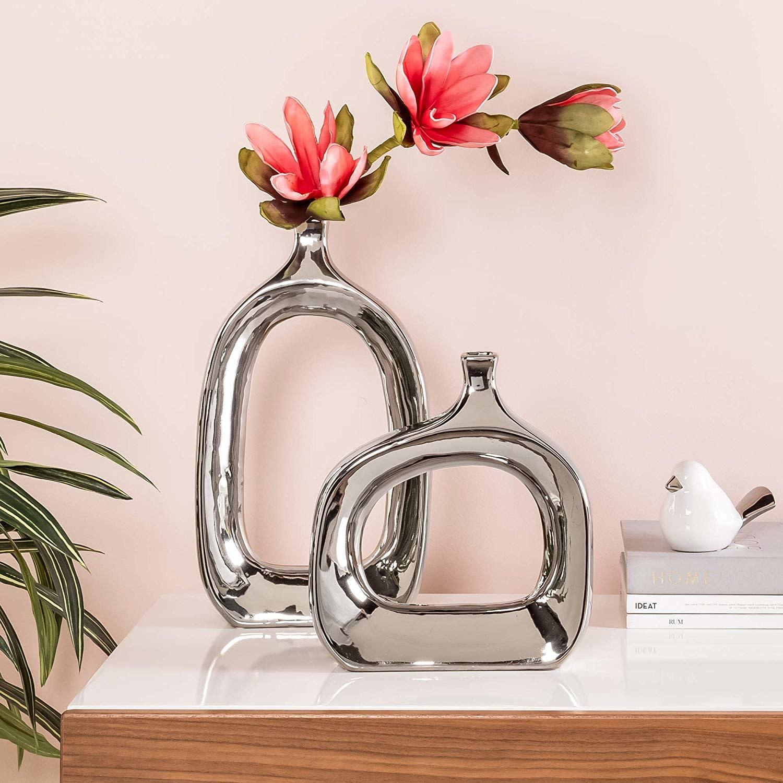 Open 15.75H Tall Chrome Vase