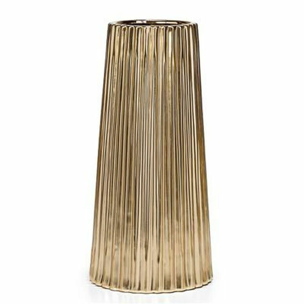 Thena Ceramic Tapered Gold 14H Vase