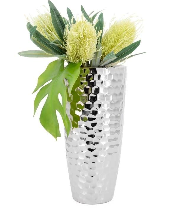 Bold Hammered 13.5H Taper Vase