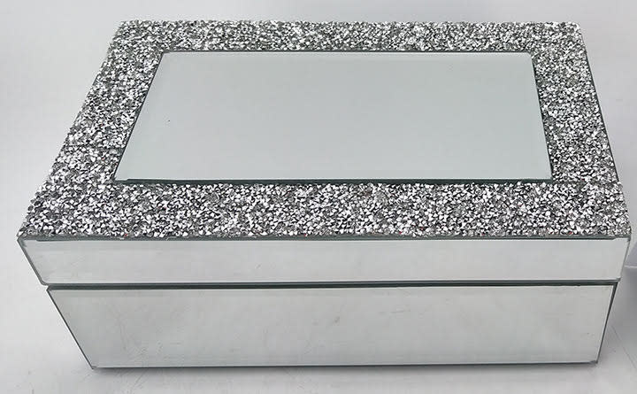 Silver Sparkles Band Mirror Jewelry Box