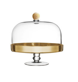 Gold Tone cake dome with crystals