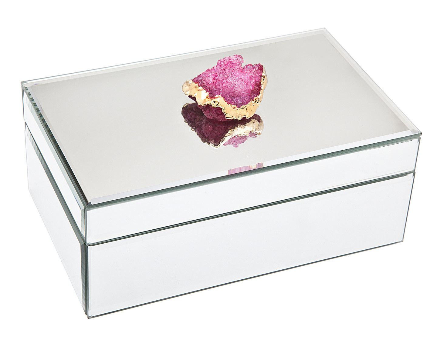 Mirror Jewelry Box with Pink Geode
