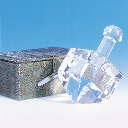 Large crystal dreidel on stand