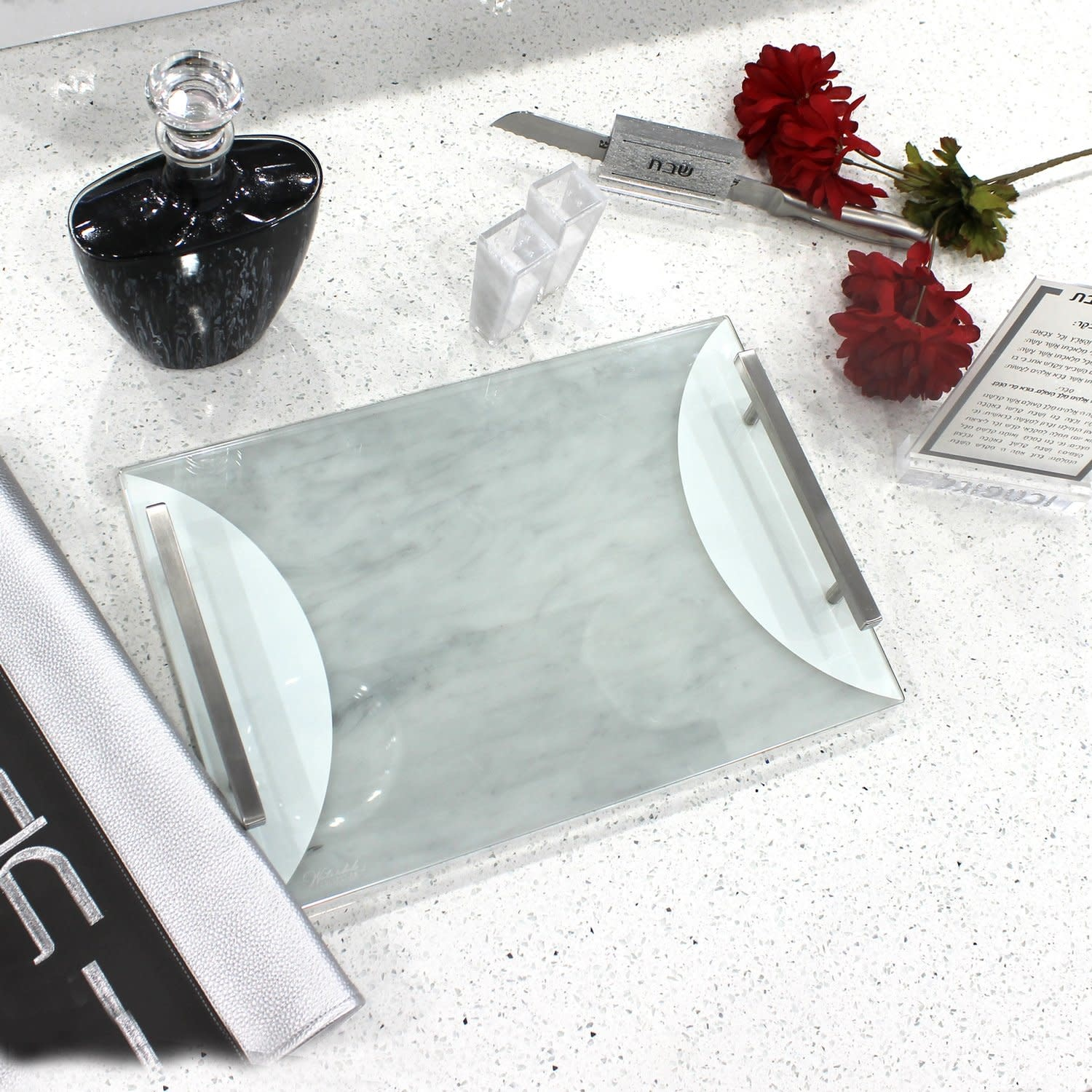 Waterdale Collection Lucite Silver/Marble Challah Board