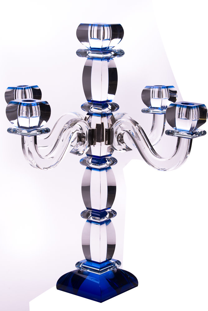 Candelabra Crystal Blue SS 6 Branches
