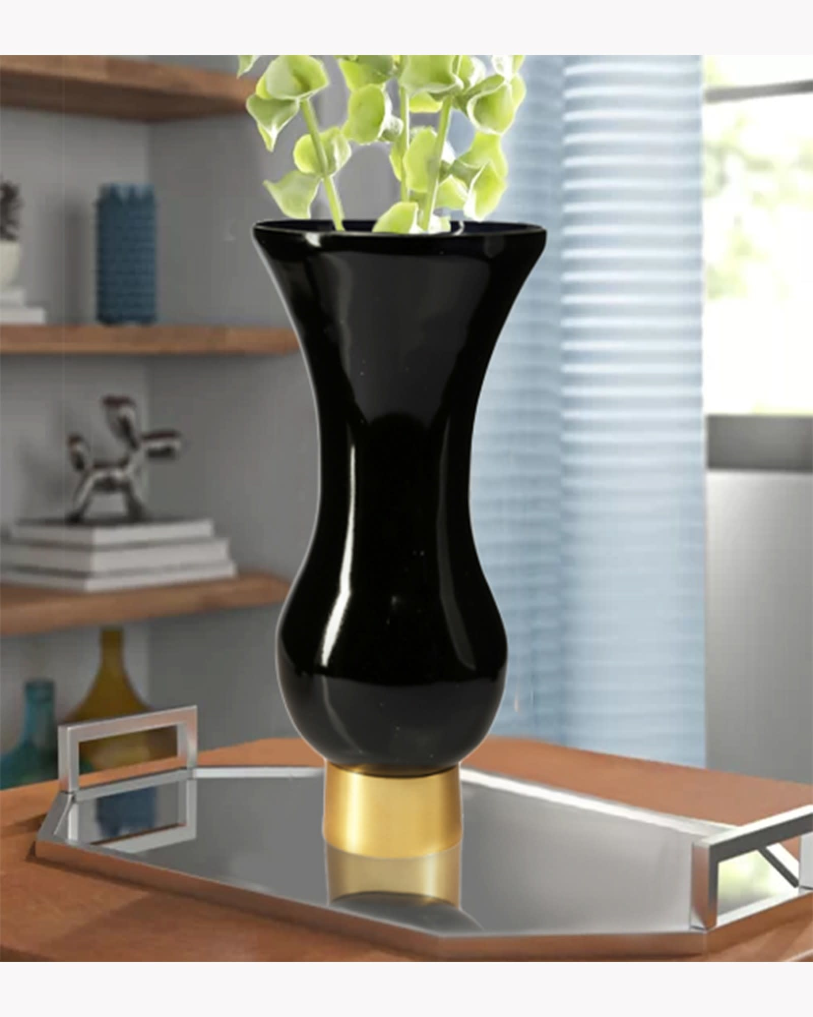 Black Glass Vase with Gold Base 12 inch
