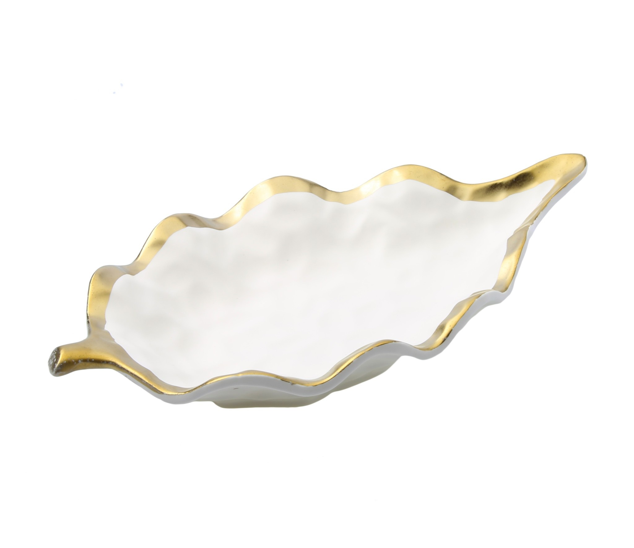 Small White Leaf Dish Bowl with Gold Rim