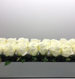 "24"" Mirror White Rose Centerpiece"