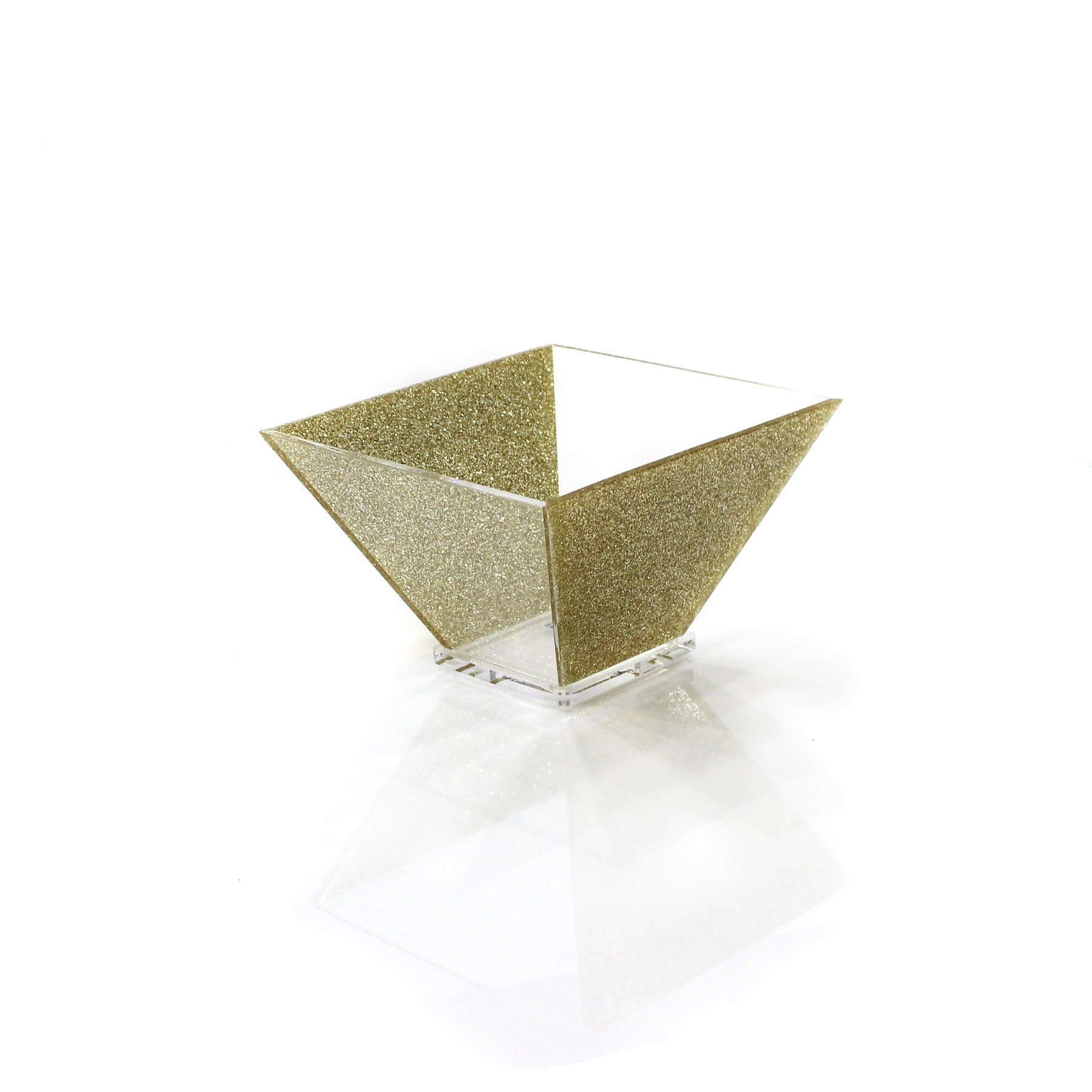 Small Trapezoid Lucite Gold Bowl