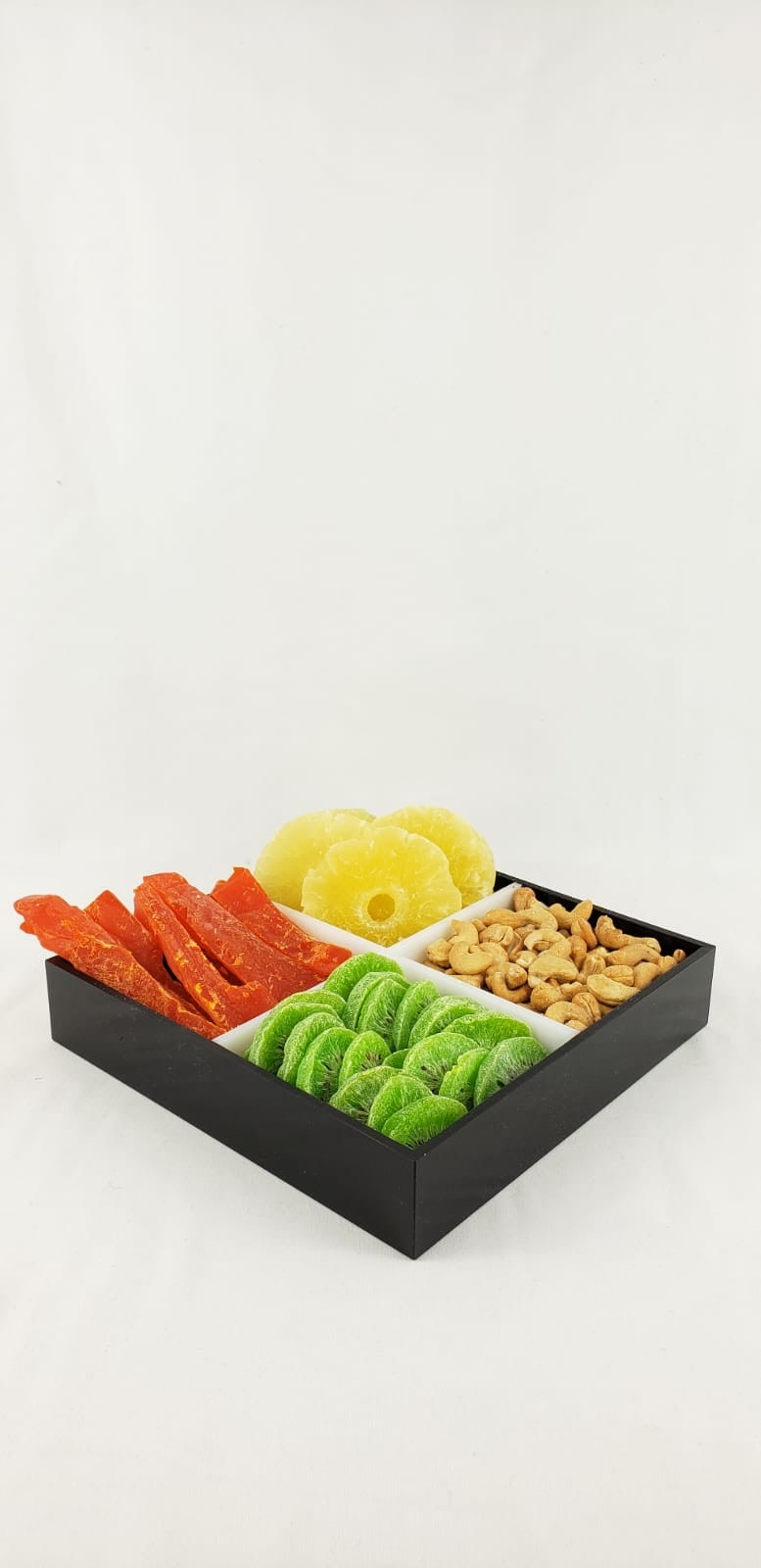 Black & white 4 sectional tray w fruits