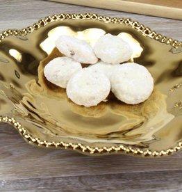 Small Ceramic Beaded platter Gold