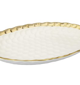 White Oval Tray with Gold Rim