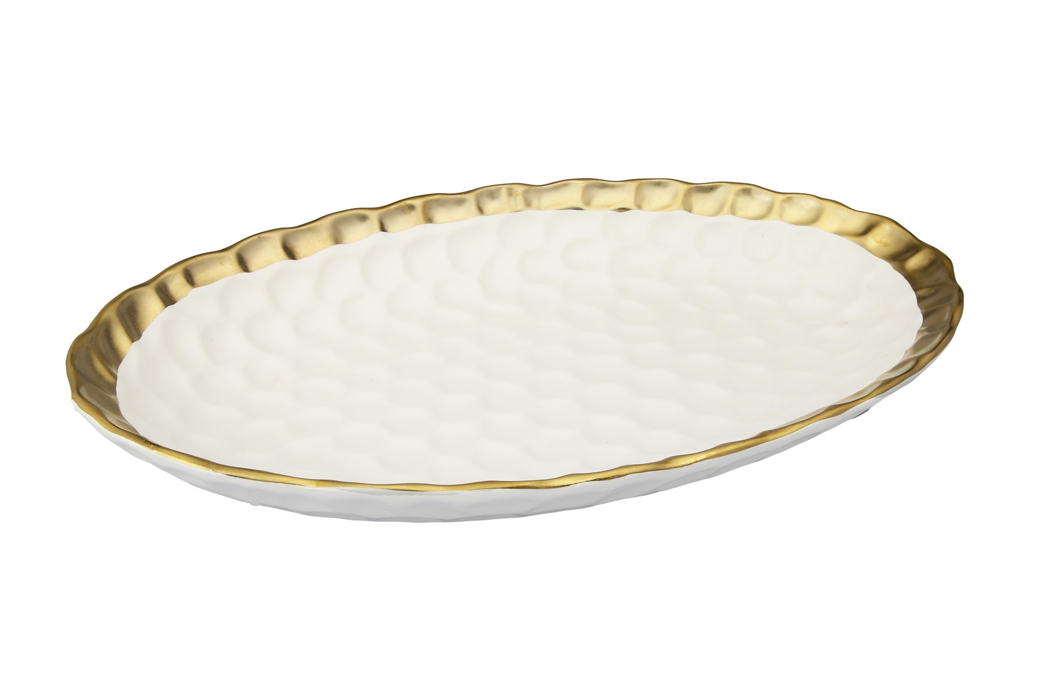 White Oval Platter with Gold Rim