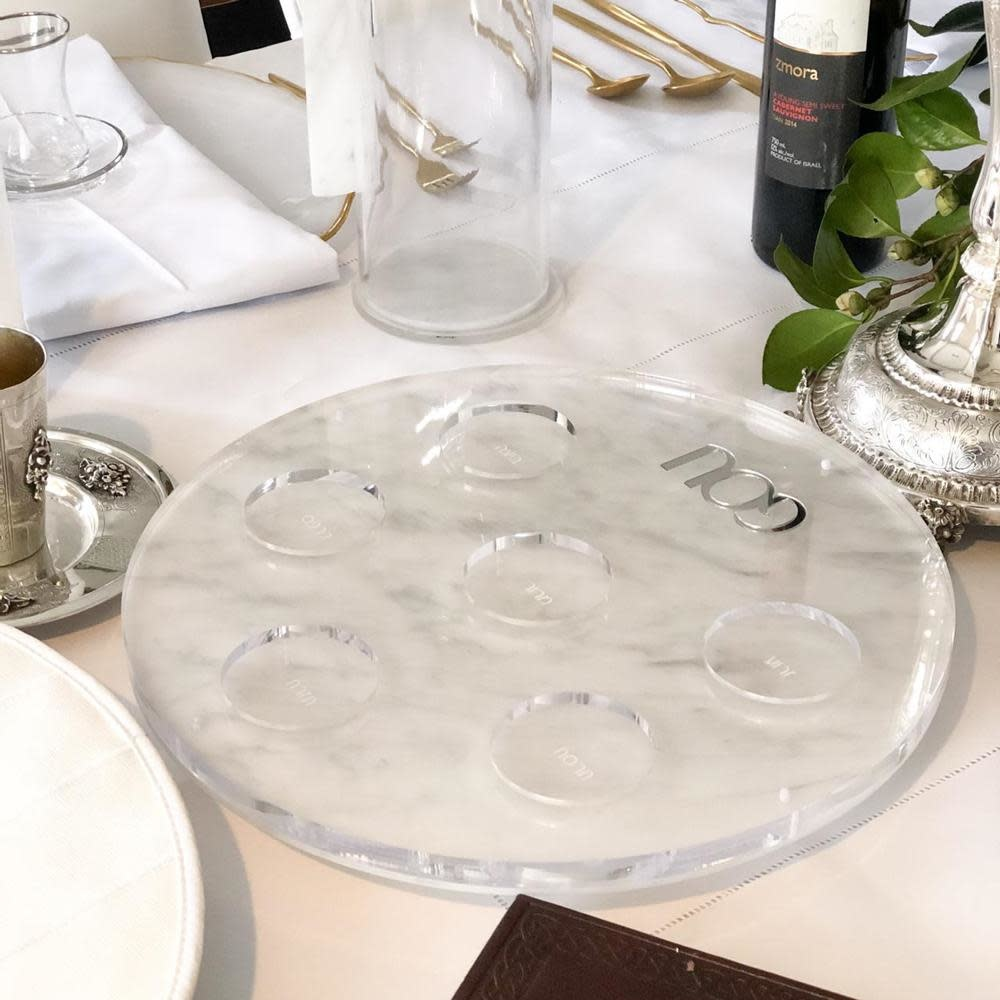 Waterdale Collection U Collection Round Seder Plate Marble