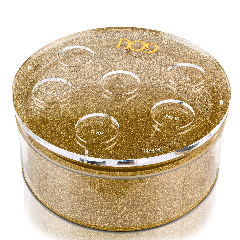 Waterdale Collection U Collection Round Matzah Box Gold