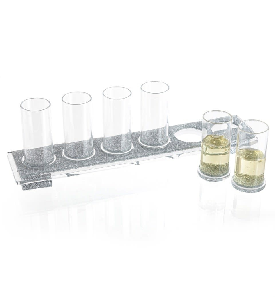 Waterdale Collection U Collection Liquor Silver Glitter Cup Set
