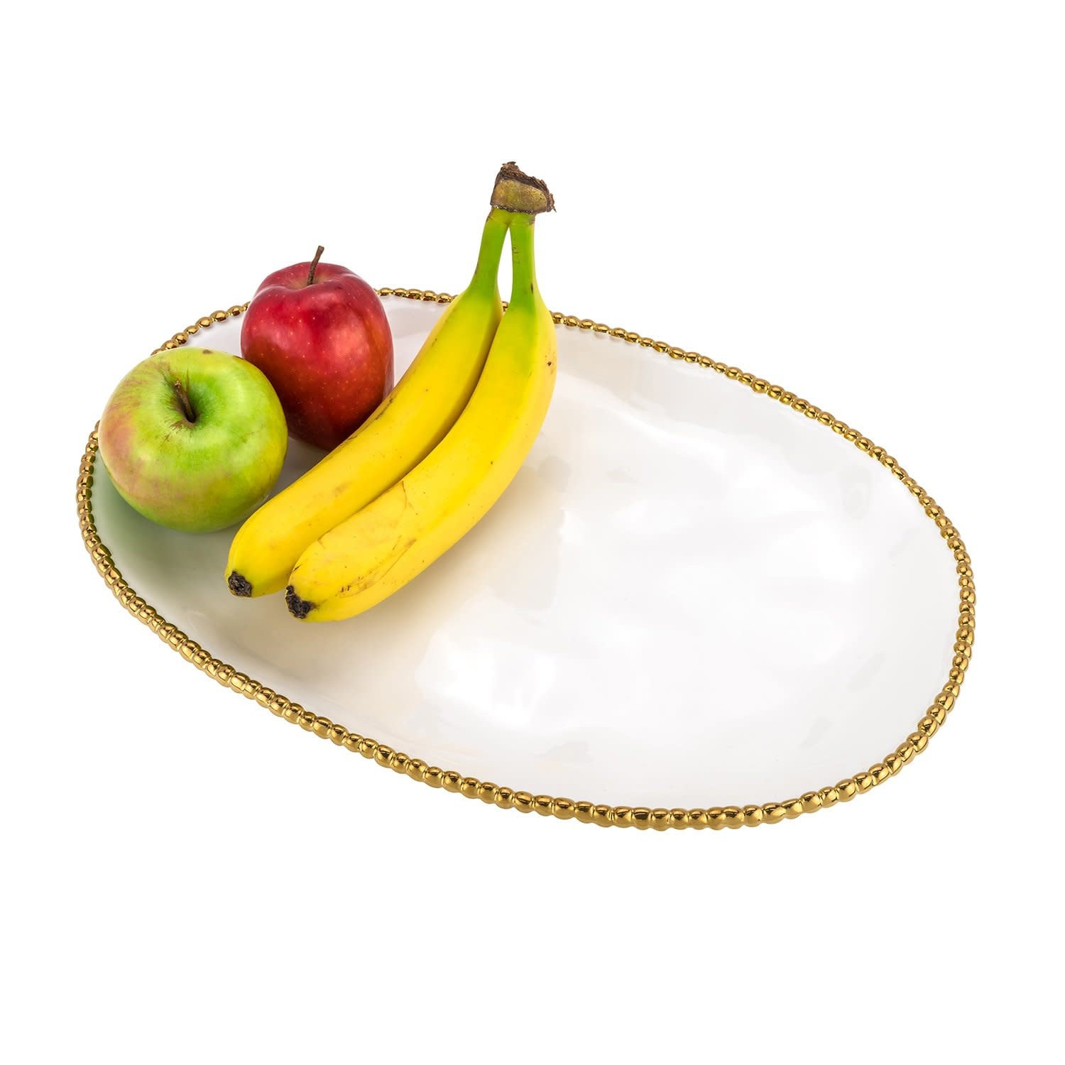 White and Gold Oval Beaded Platter