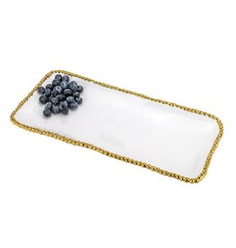 "White & Gold 13.5"" Rectangle Beaded Tray"