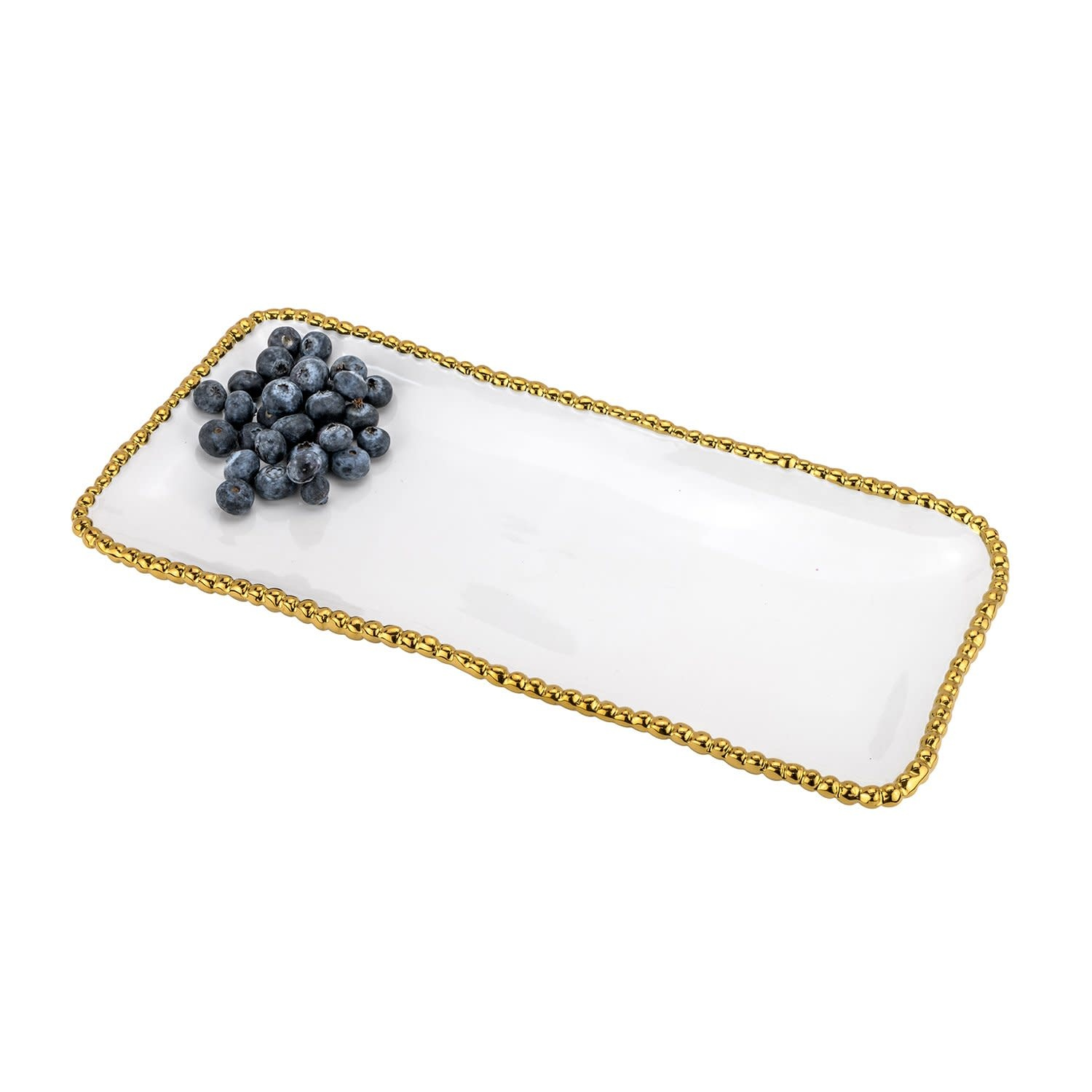 """White & Gold 13.5"""" Rectangle Beaded Tray"""