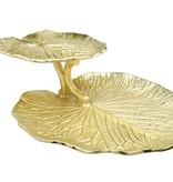 2 Tier Gold Lotus Flower Tray