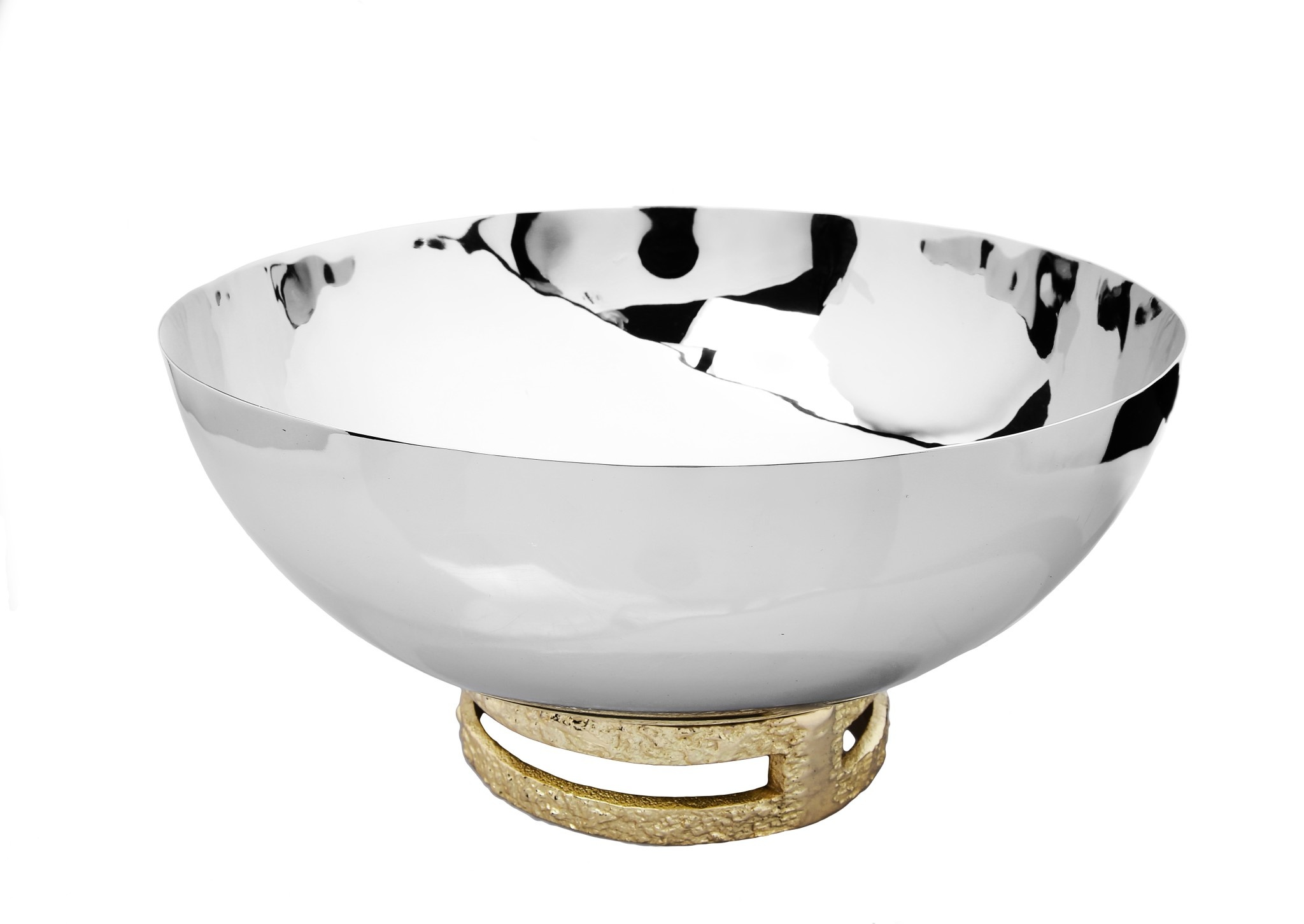 "11.5"" SS Bowl w Gold Loop Base"