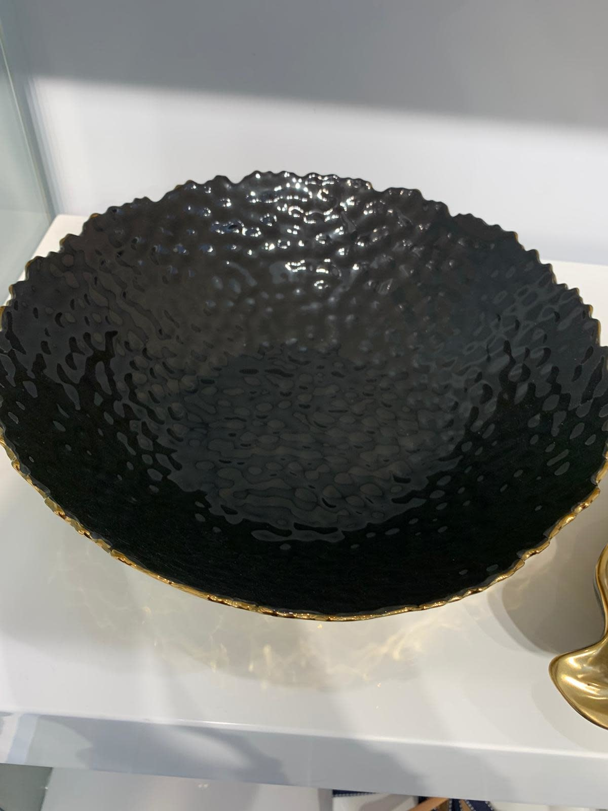 Black/Gold Hammered Salad Bowl