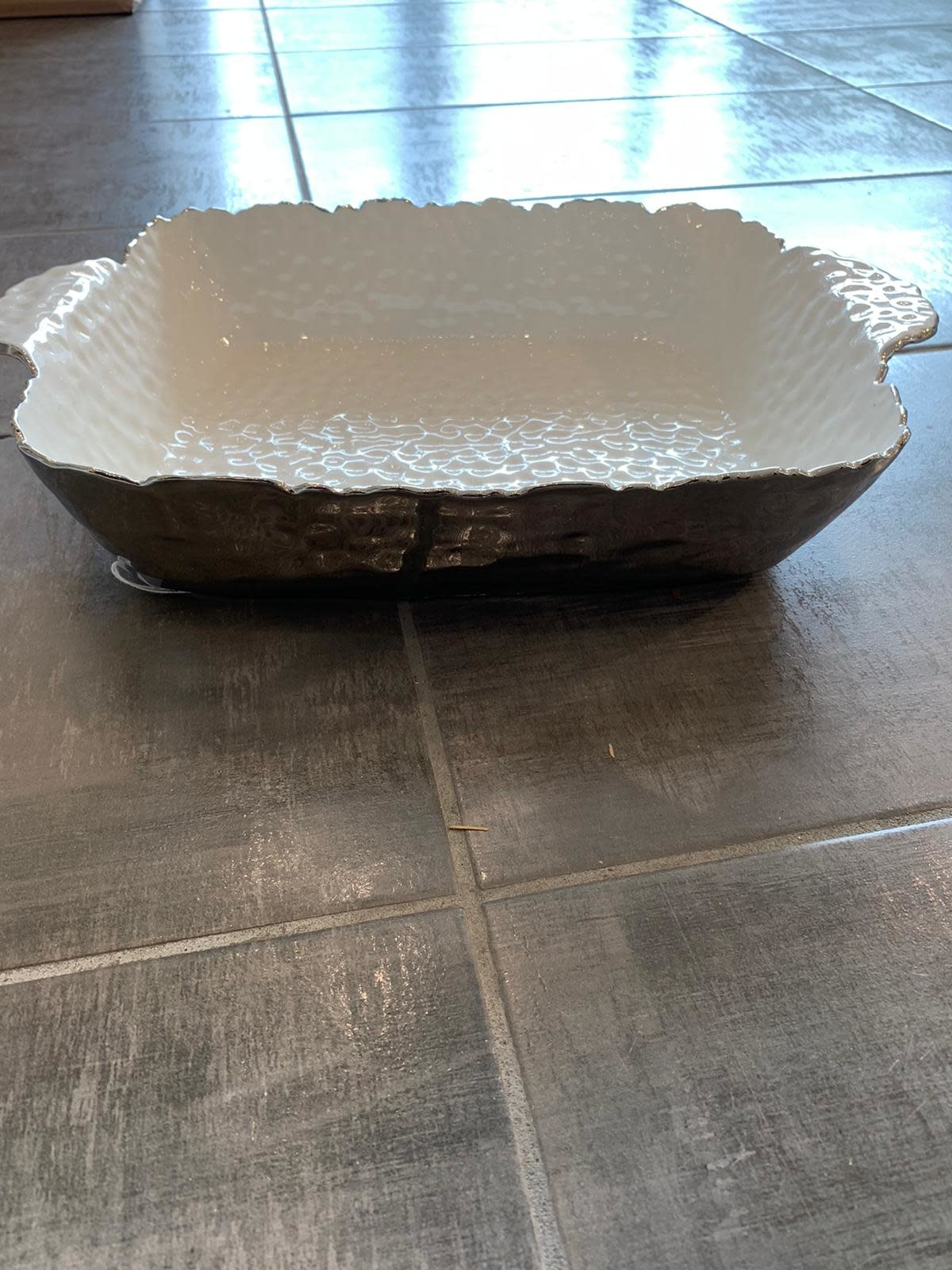 "15.75"" Rectangle White/Silver Oven to Table Dish"
