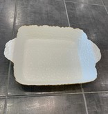 "15.75"" Rectangle White/Gold Oven to Table Dish"