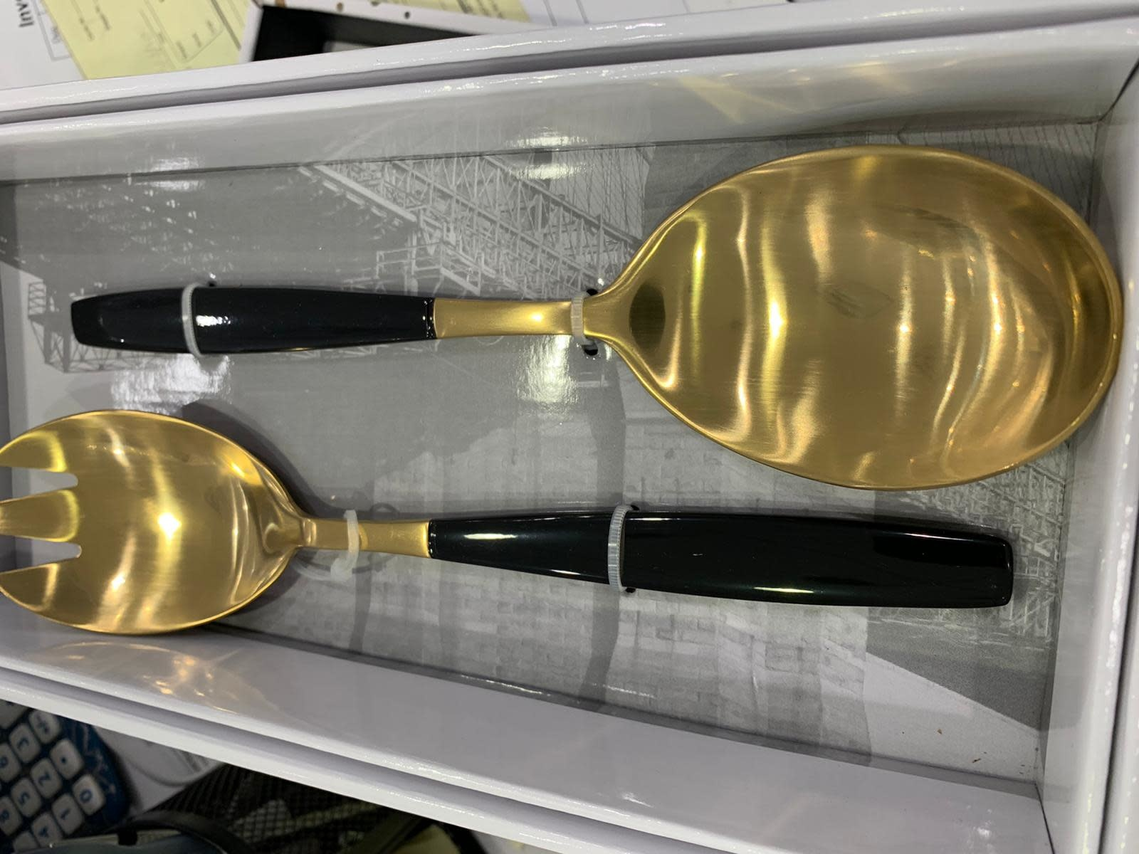 Chevalier Black/Gold Serving Spoons