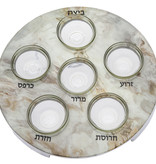 White Marble Seder Plate with Glass Inserts