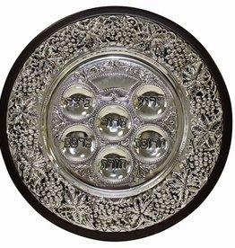 Wood/ Silver Seder Plate