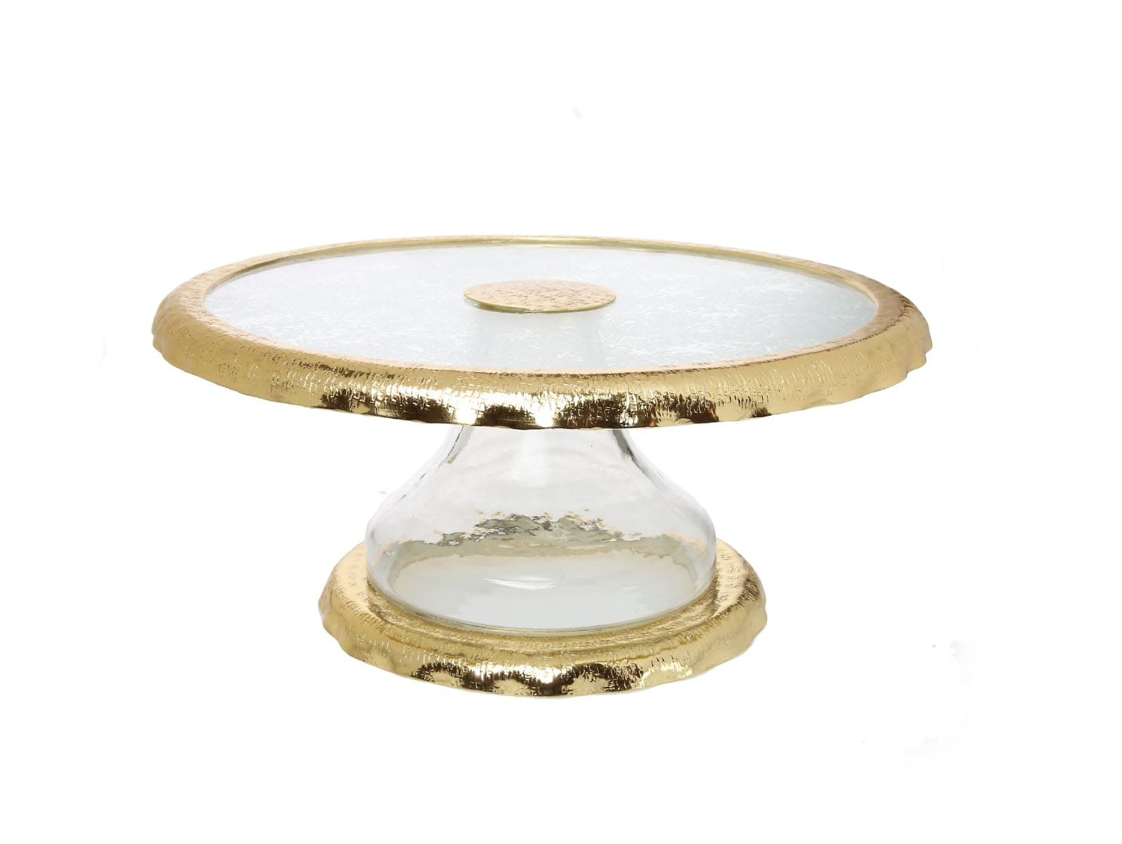 Glass Cake Stand with Gold Border