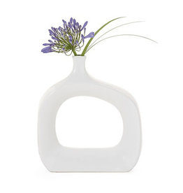 "Open 11H"" Wide White Vase"