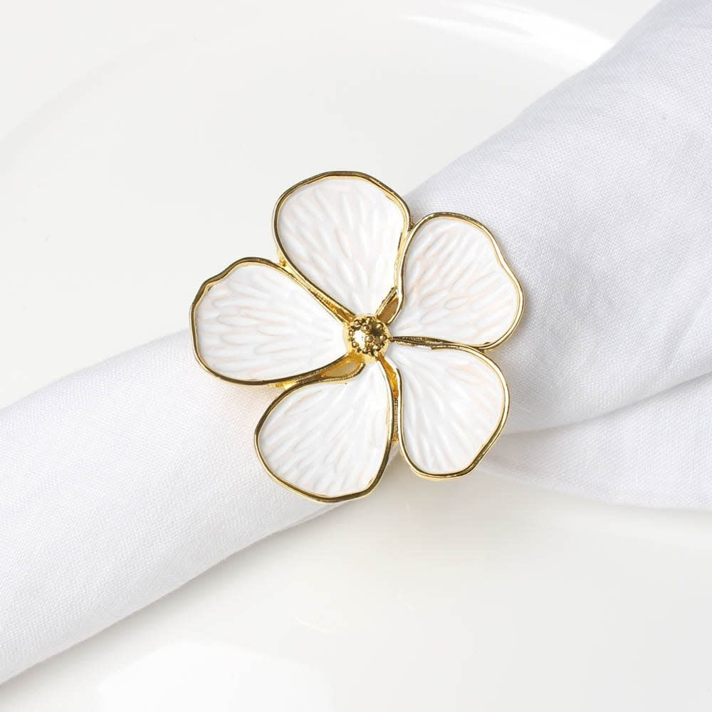 White Flower with Gold Outline Napkin Ring